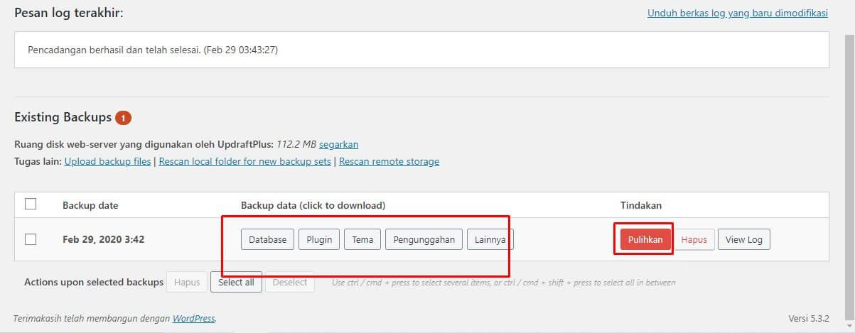 Cara Backup dan Restore WordPress data dengan UpdraftPlus