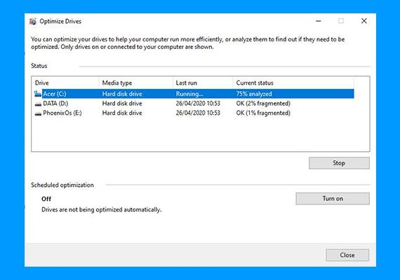 Cara Defrag di Windows 10 : tampilan analyze