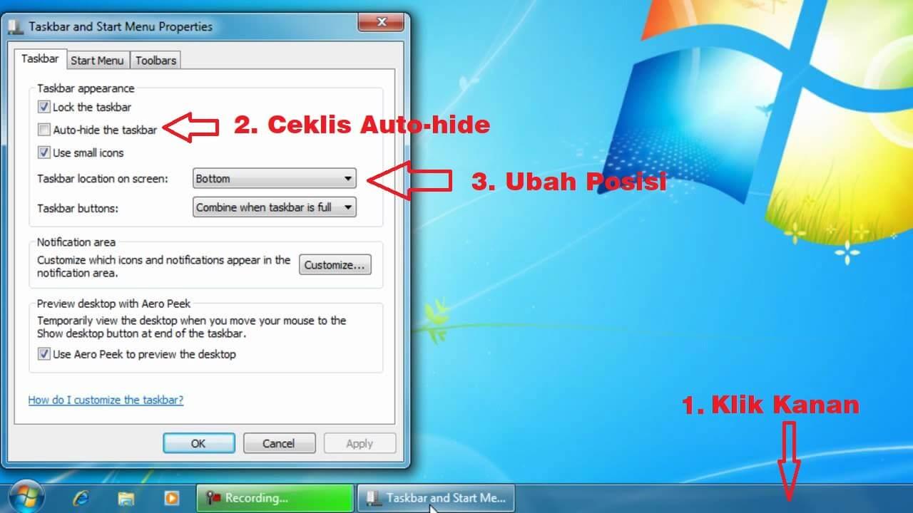 cara menyembunyikan taskbar windows 7