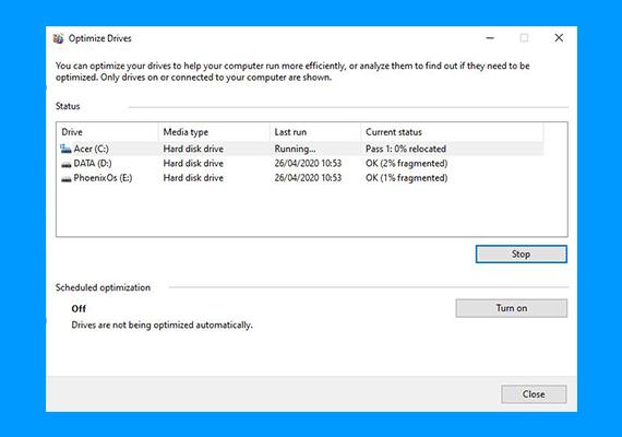 Cara Defrag di Windows 10 : tampilan optimize